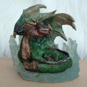 11cm GREEN DRAGON ON CRYSTAL BASE